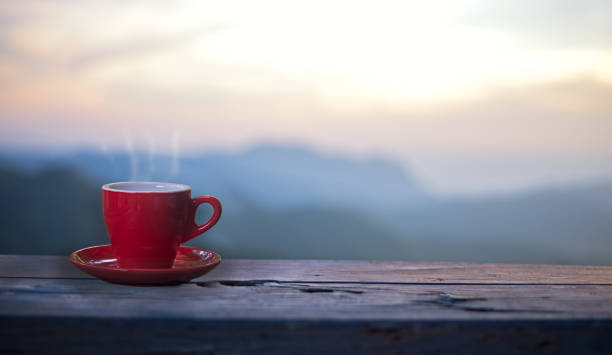 Cup of coffee sitting on a ledge overlooking a mountain range.